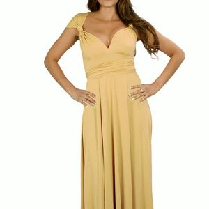 FROSTED ALMOND BRIDESMAID CONVERTIBLE DRESS LONG